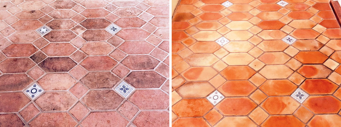 Terracotta Conservatory Cranliegh Before and After Sealing