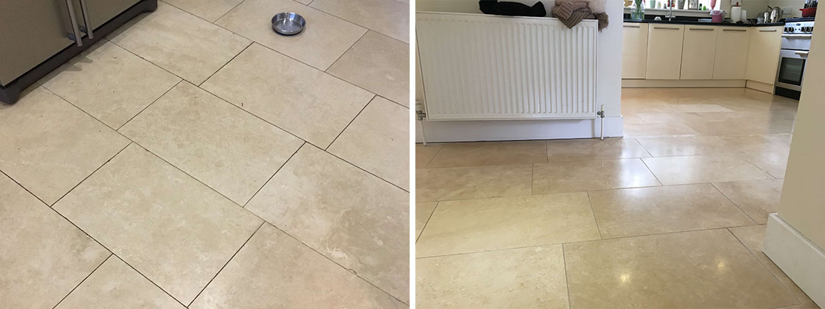 Travertine Tiled Kitchen Diner Floor Before and After Cleaning Cobham