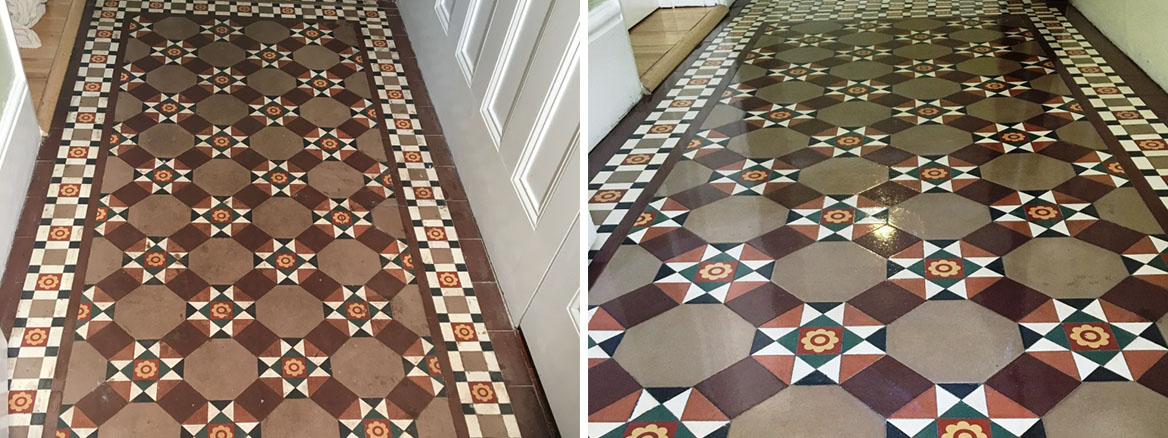 Victorian Floor Tile Before and After Cleaning Esher