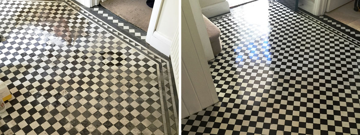 Victorian Hallway Floor West Byfleet Before and After Sealing