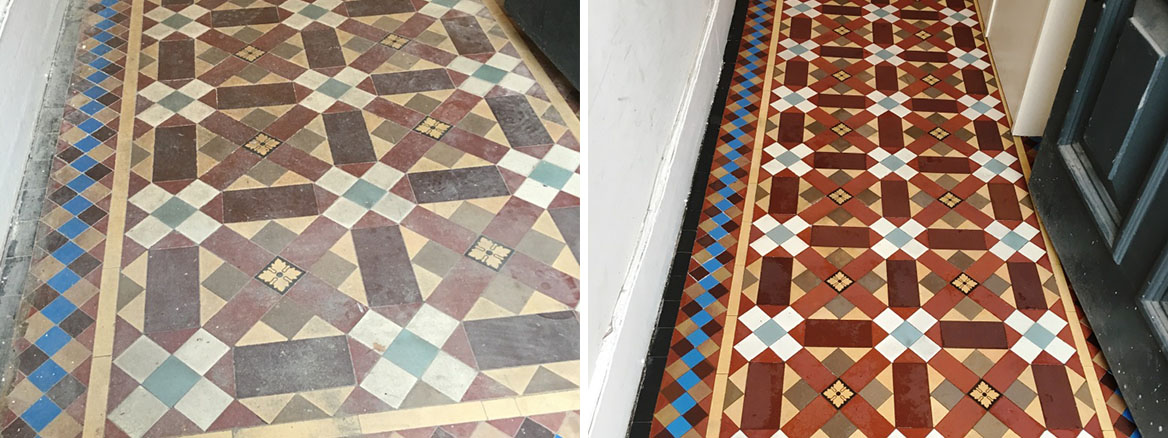 Victorian Tiled Hallway Before and After Restoration in Leatherhead