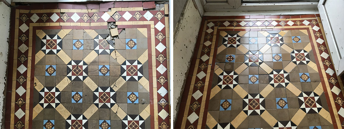 Victorian Tiled Hallway Floor Before and After Rebuild in Epsom