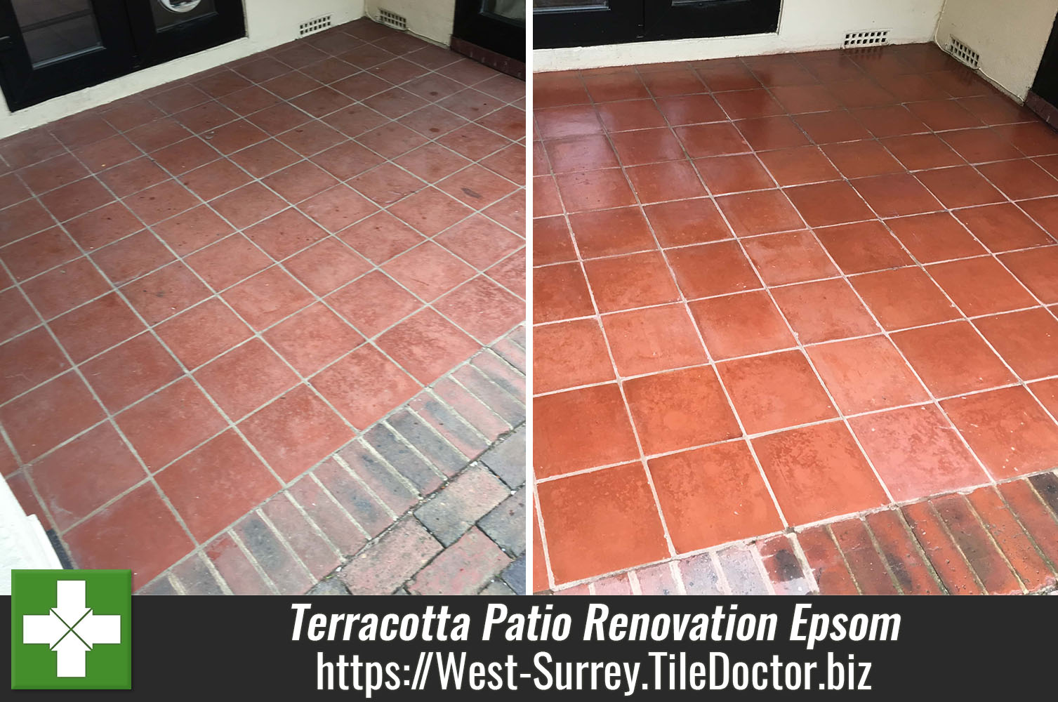 Terracotta Patio Floor Before and After Renovation Epsom