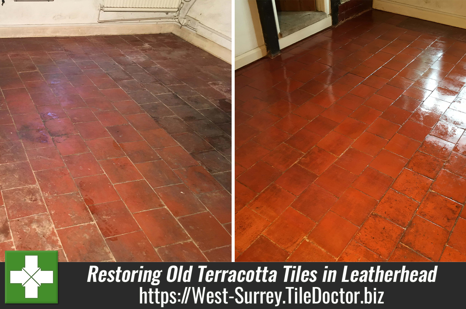 Terracotta Floor Before After Renovation Leatherhead