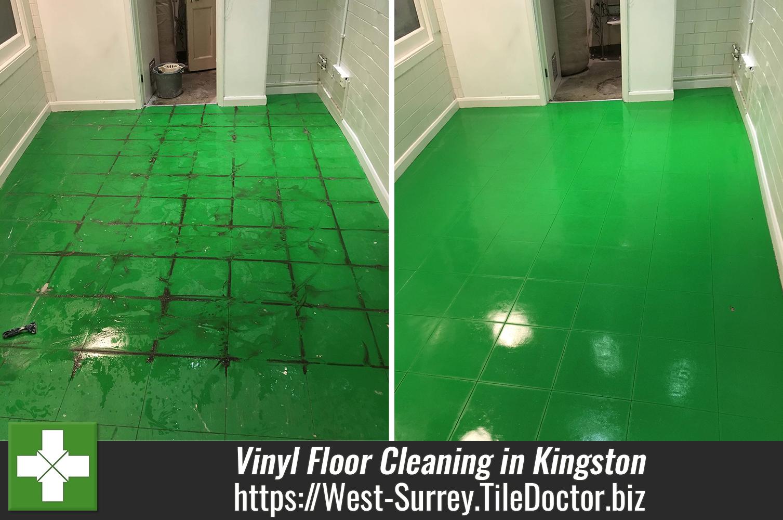 Vinyl Shop Floor Tile Before After Cleaning Kingston