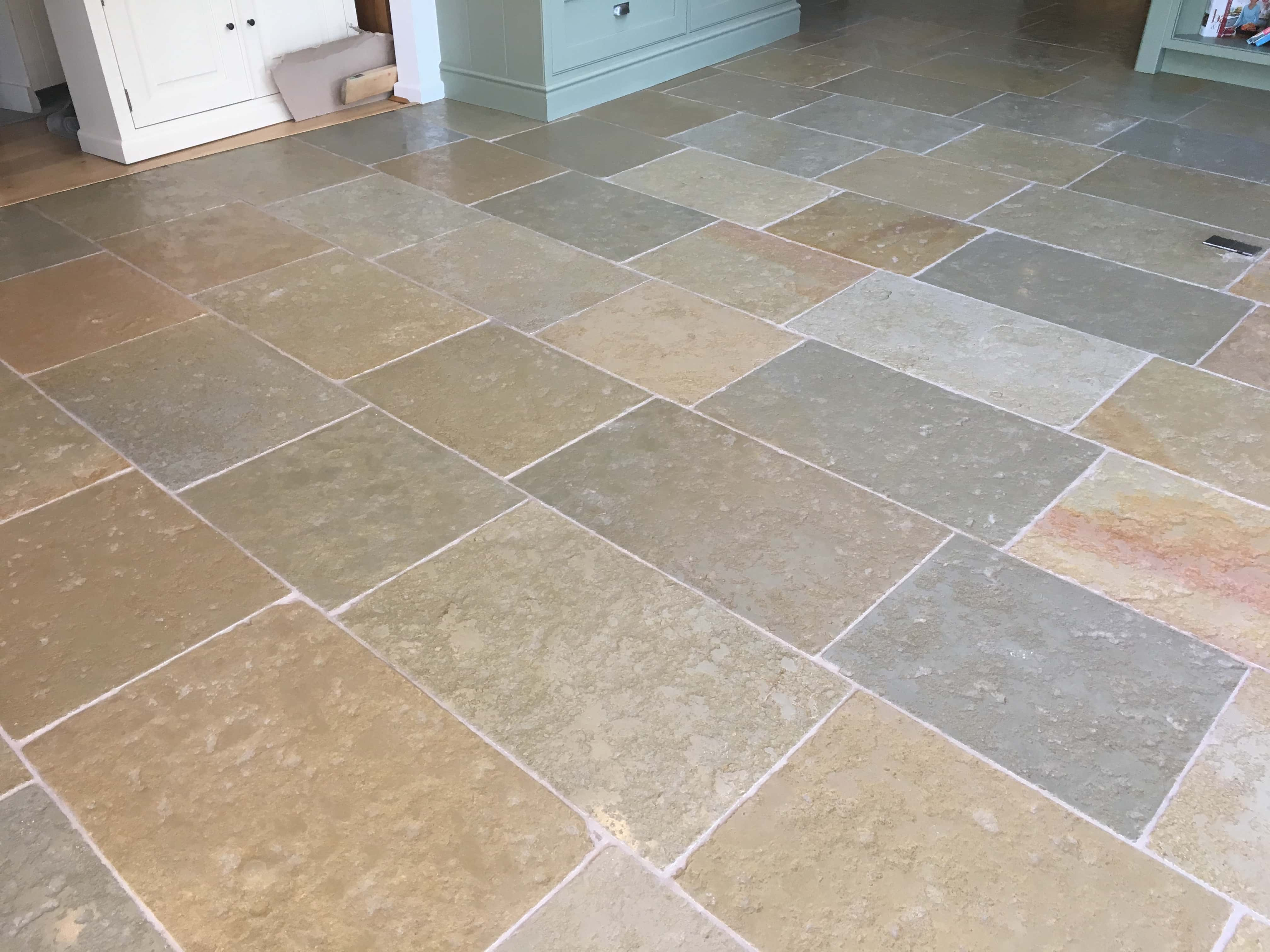 Sandstone Kitchen Floor After Cleaning Sealing Farnham