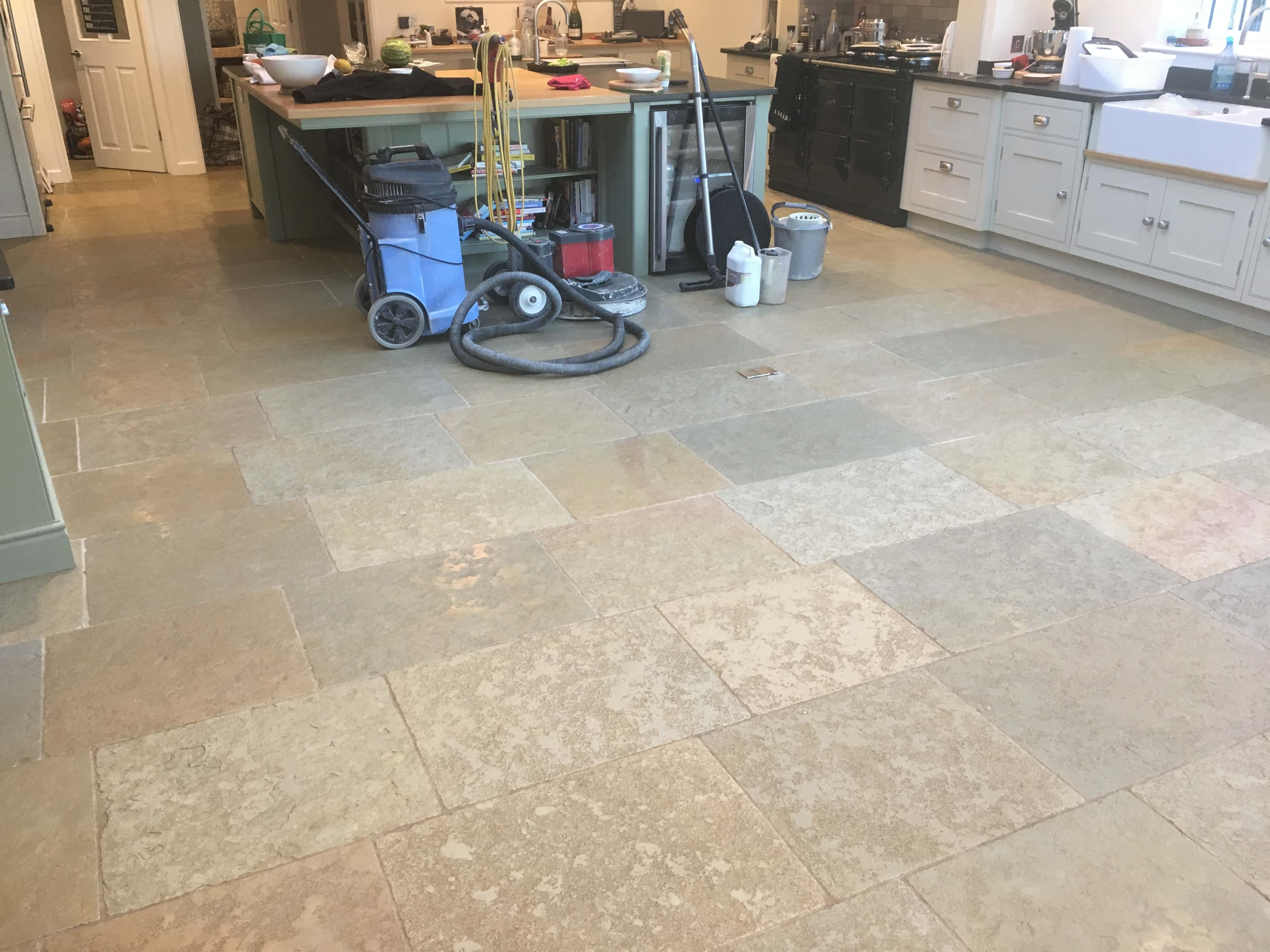 Sandstone Kitchen Floor Before Cleaning Farnham