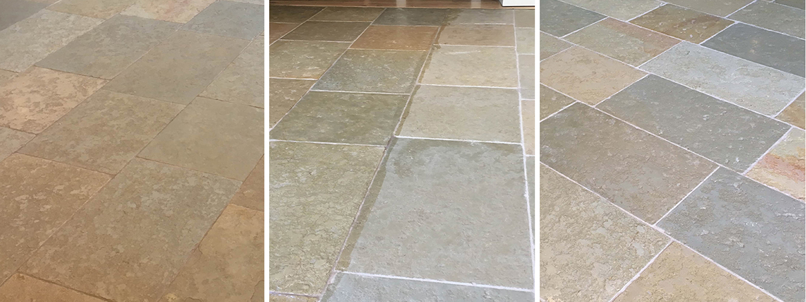 Sandstone Kitchen Floor Restored in Farnham