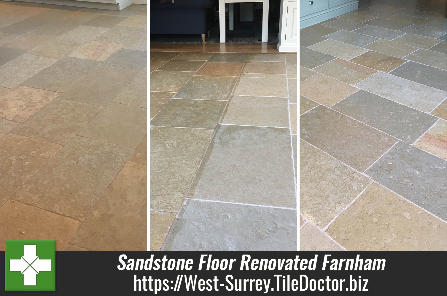 Restoring a Sandstone tiled kitchen floor in Farnham