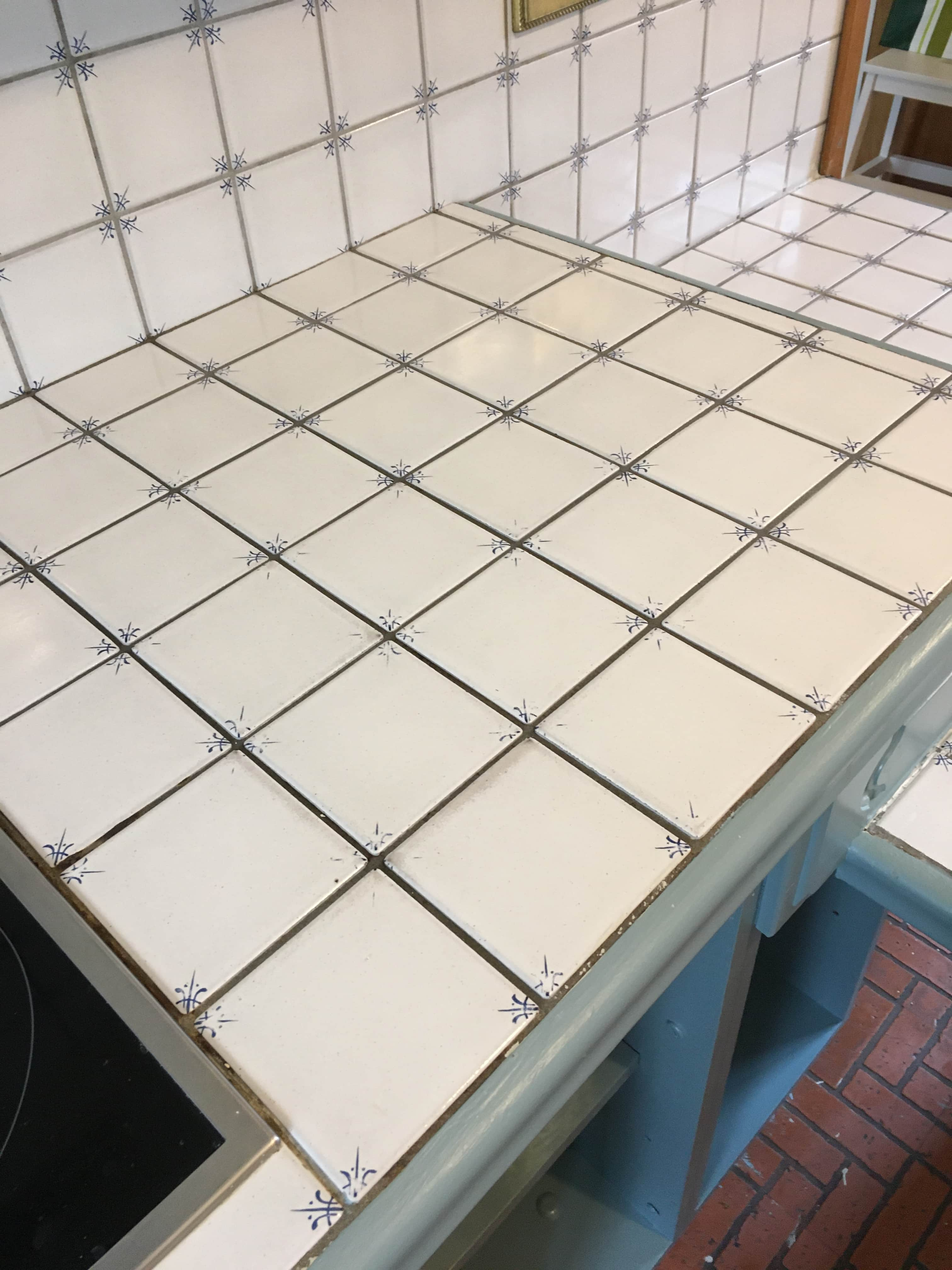Tiled Worktop Before Grout Colouring in Guilford