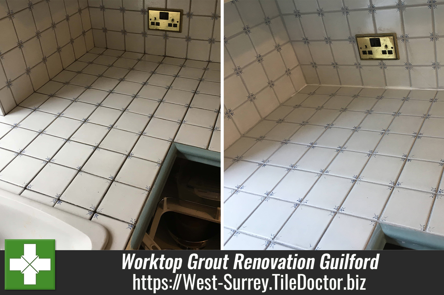 Re-colouring of Grout on Ceramic Tiled Worktops in Guildford