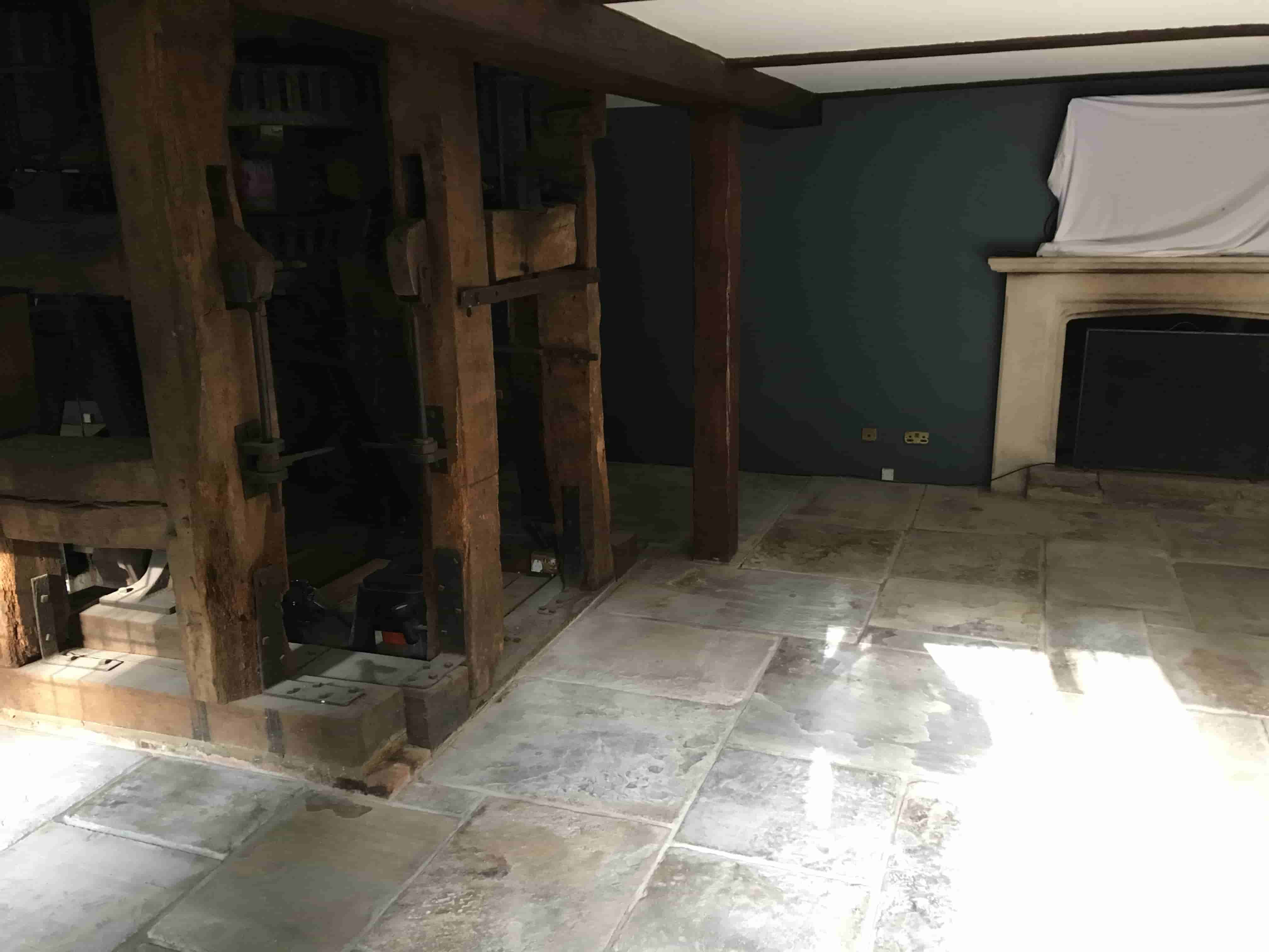 300 Year Old Sandstone Flagstone Floor Before Cleaning Pirbright_Mill