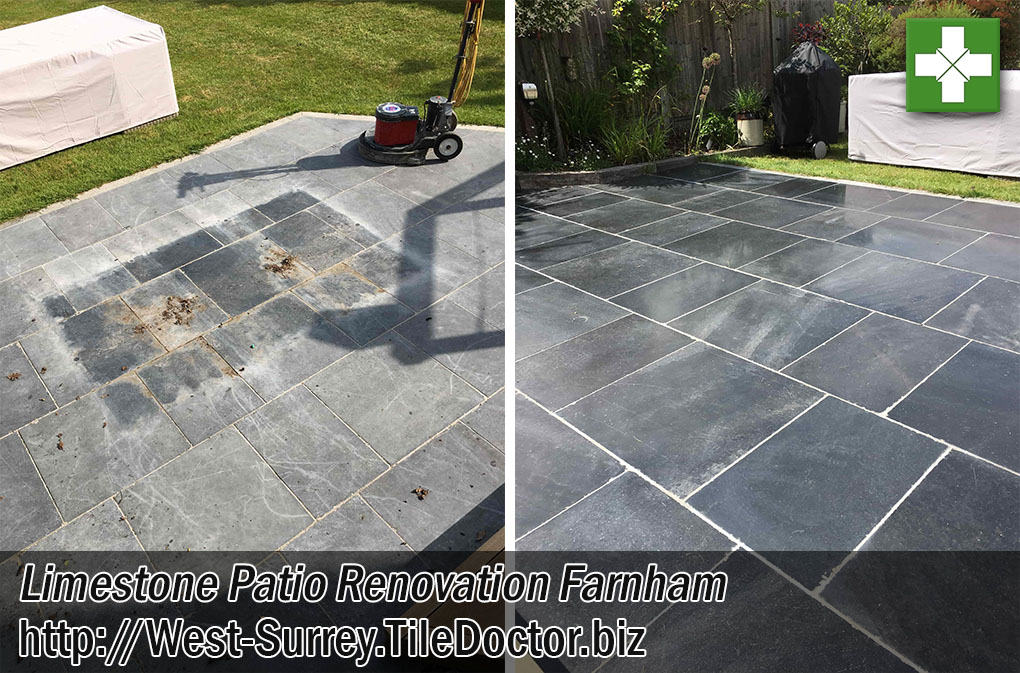 Black Limestone Patio Before After Renovation Farnham