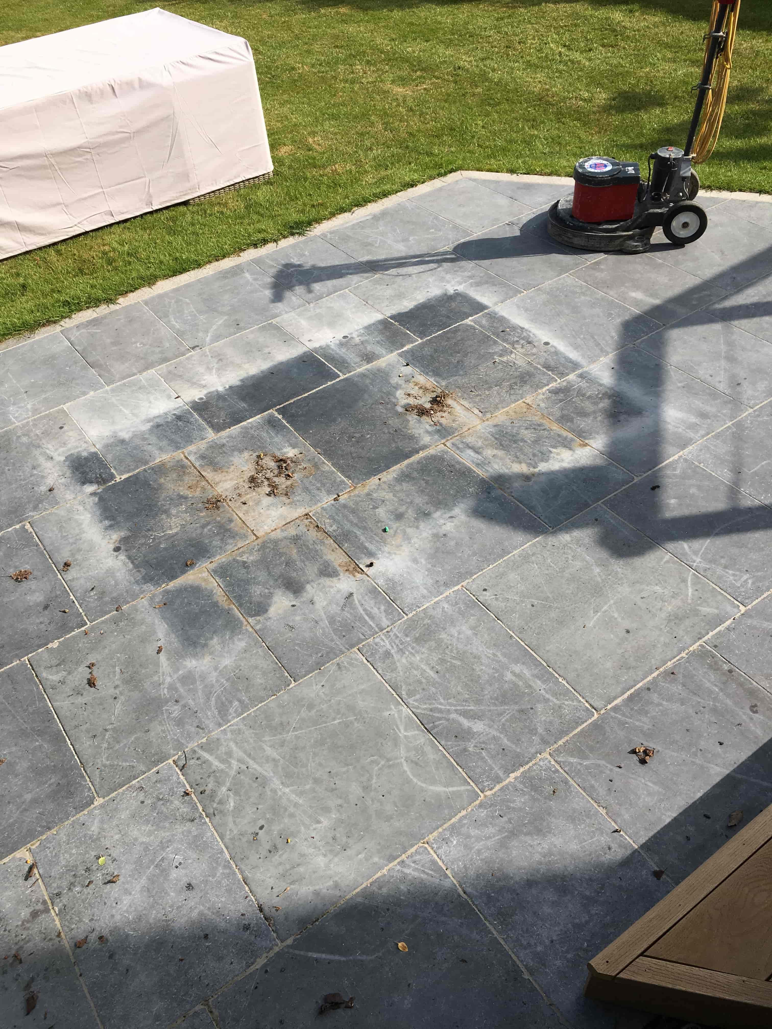Limestone Patio Before Cleaning Farnham